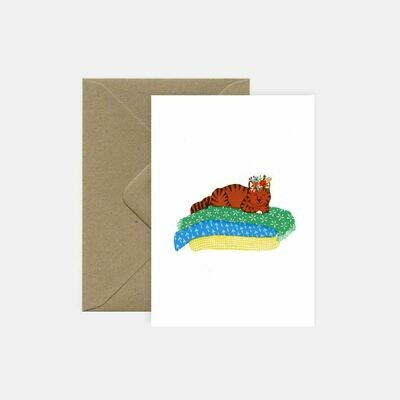 pink cloud studio | Lazy cat - folding card with envelope