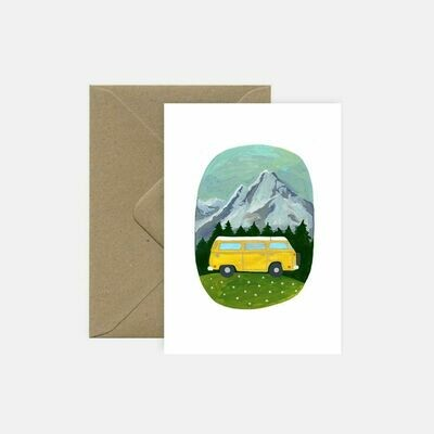 pink cloud studio | Yellow Camper - folding card with envelope