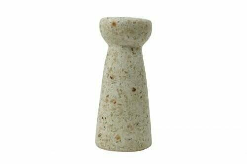 Kinta | Vase Hyacinth - wood and paper pulp beige 24cm and dried flowers