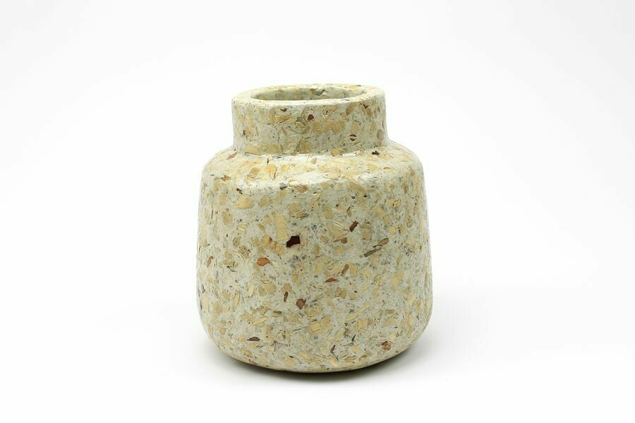 Kinta | Wide Neck Vase or Plant Pot T-Upward - wood and paper pulp 20cm