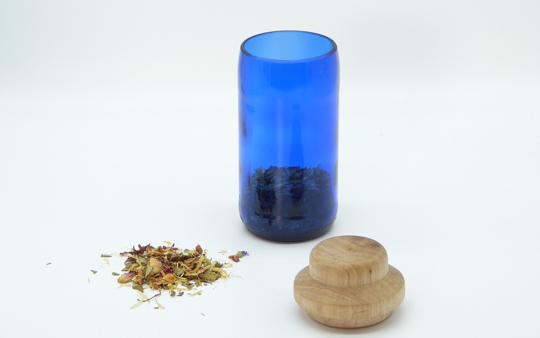 nest gestaltung | Storage blue glass jar with walnut wooden lid - recycled glass