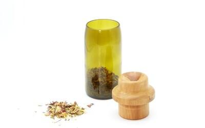 nest gestaltung   Storage brown glass jar with birch wooden lid - recycled glass