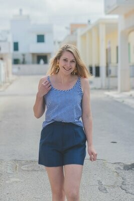 Olá Lindeza | Linen top - blue checkered (last pieces)