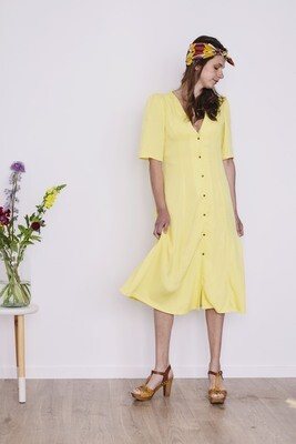 Olá Lindeza | MADRID Lemon Dress - Viscose and natural wooden buttons