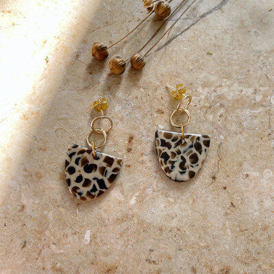 Olá Lindeza  | Leopard golden bubble earrings