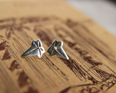 Caitlin Rose | Handcrafted silver leaf ear studs - 925 sterling silver