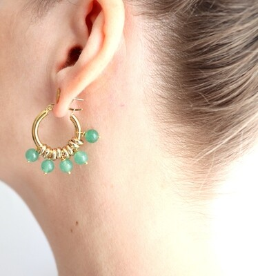 URBAN SWAG | Golden hoops with green aventurine beads