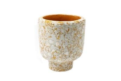 Kinta | Vase on Foot Cap Pulp - Pumpkin (without plant)