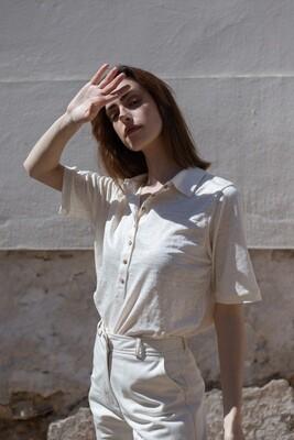 Benedita Formosinho   Matilde Blouse - natural linen and cotton
