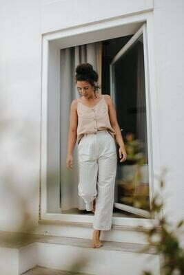 Näz   Peniche trousers cotton/linen - Blue Beige stripes