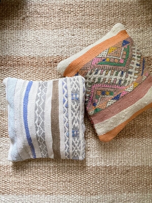 Olá Lindeza | Blue Striped Flatweave Berber Pillow with embroidery (reversible)
