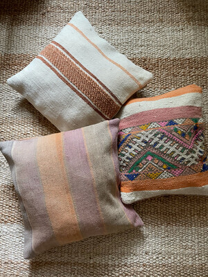 Olá Lindeza   Flatweave Berber Pillow Stripes - (reversible)