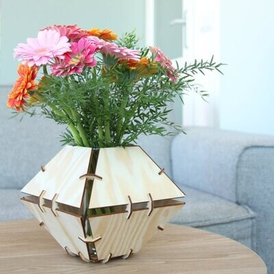 Aiymes   Vase Trapeze - pine wood or Okoume with glass vase inside - 19cm