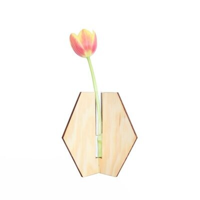 Aiymes   Vase Hexagon Small - pine wood or Okoume with glass vase inside - 14 cm