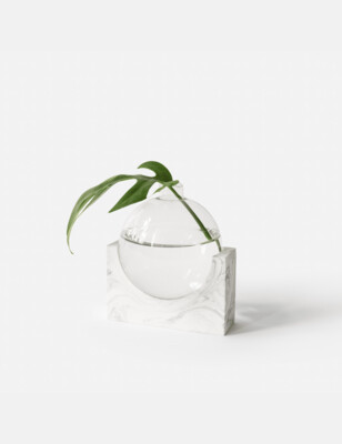 House Raccoon | June Small Vase - white marble (also available in black marble and olive green)
