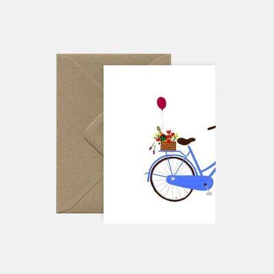 pink cloud studio   Bubbles on Blue Bike - folding card with envelope