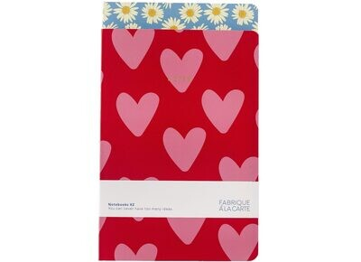 A-journal | Set of 2 Notebooks - Hearts & Daisies
