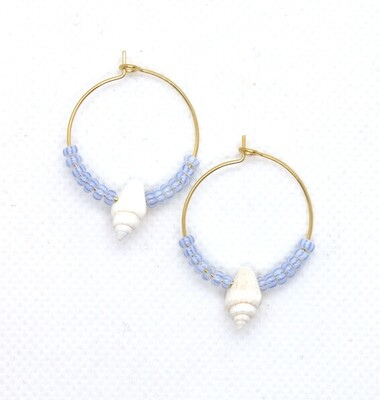 URBAN SWAG   Gold Hoops with Miyuki Pearls and Conch Shells