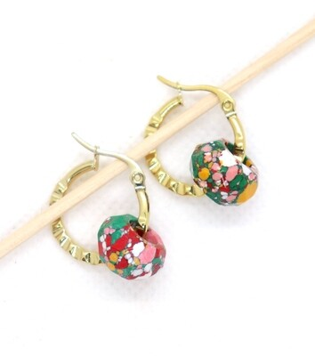 URBAN SWAG   Gold Tarja Hoops with marble pearls green yellow pink white