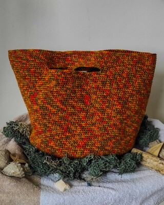 Inapavl   Handmade Crochet Market or Storage Bag - Rust Orange Red Green Yellow