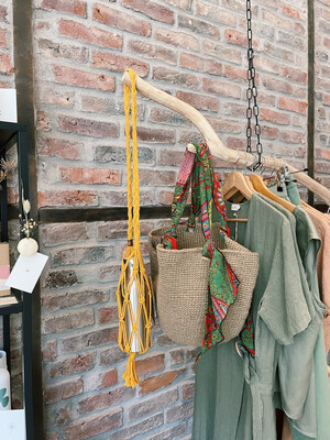 Inapavl   Handmade Crochet Bottle Holder - Ochre Yellow