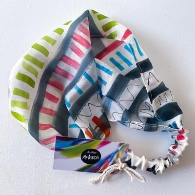 Atelier Arlette | Handpainted Silk Headband - stripes and waves