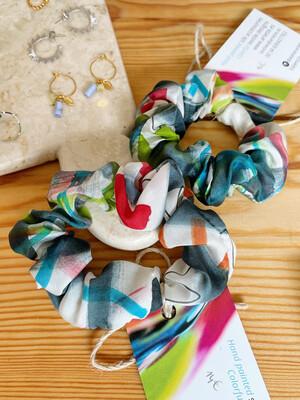 Atelier Arlette | Handpainted Silk Scrunchie - stripes and waves
