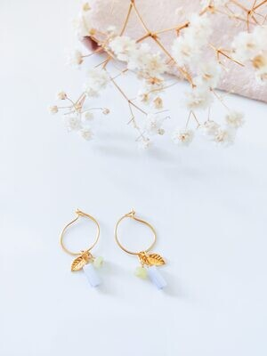 Isa & Roza | Golden mini hoops with stones and gold leaf
