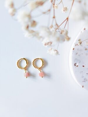 Isa & Roza | Golden dotted mini hoops with peach pink stone