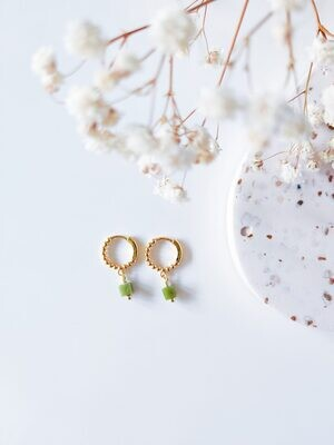 Isa & Roza | Golden dotted mini hoops with green stone