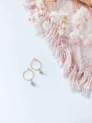 Isa & Roza | Gold mini hoops with ocean green stone