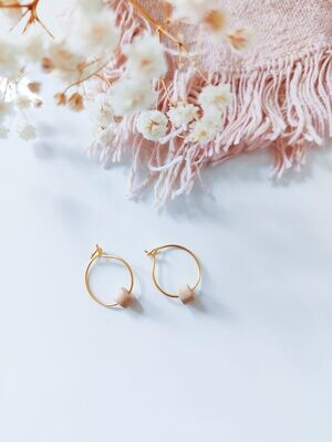 Isa & Roza | Gold mini hoops with natural sand stone