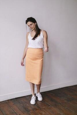 Olá Lindeza | Linen pencil skirt - Peach orange