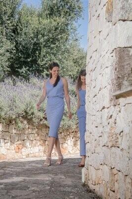 Olá Lindeza | Linen pencil skirt - Blue checkered