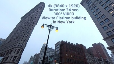 View to Flatiron building in New York 360° 4K (3840 x 1920)