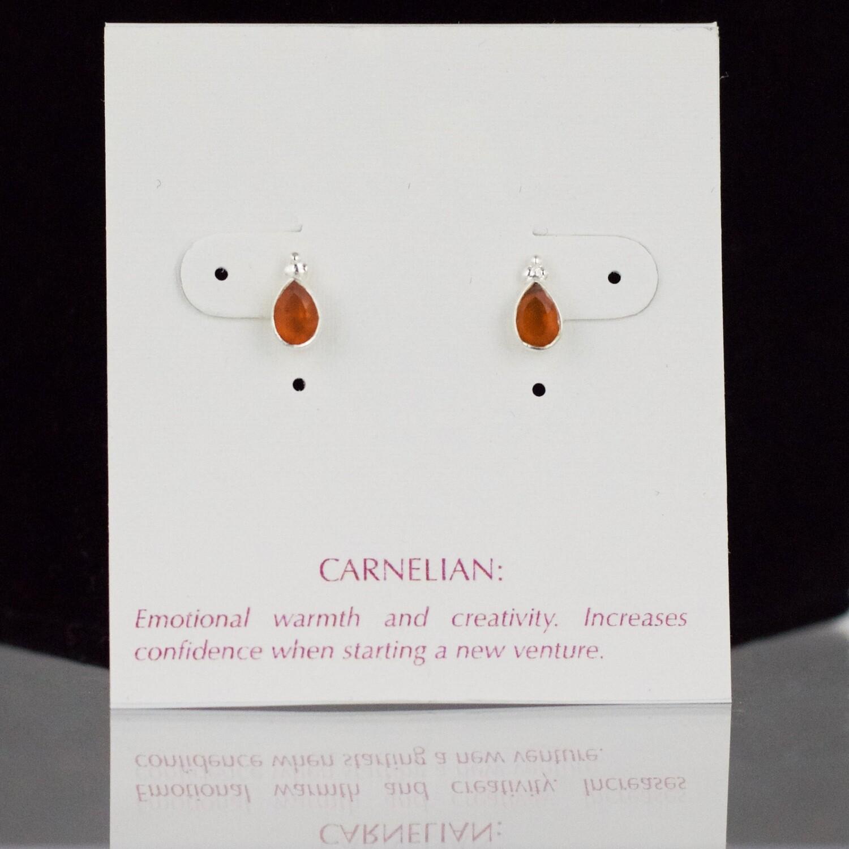 Carnelian Sterling Silver Faceted Drop Post Earrings