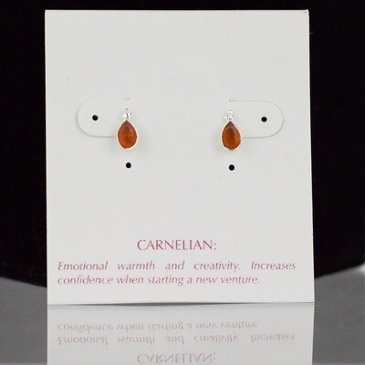 Carnelian Sterling Silver Faceted Drop Post Earrings