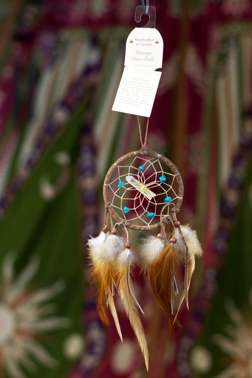 Brown Leather, Quartz Crystal and Turquoise Dream Catcher
