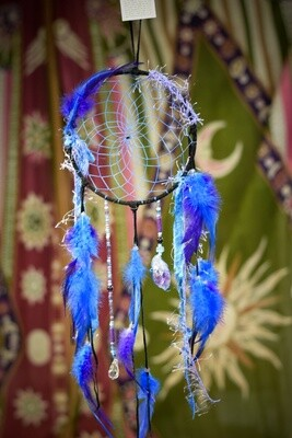 Black Leather,Amethyst and Crystal Dream Catcher With Blue and Purple Feathers