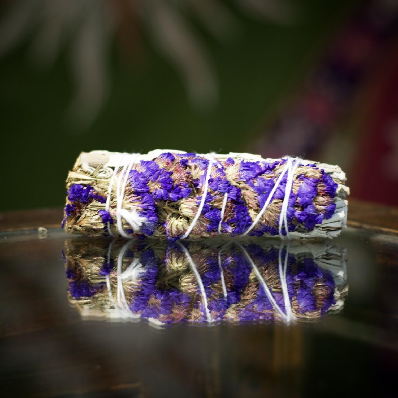 """Sage with Purple Sinvata Flower Bundle 4"""""""