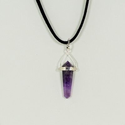Amethyst Crystal Point Necklace on Chord