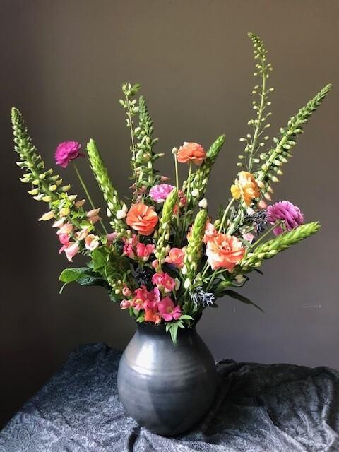$200 Deluxe Mother's Day Arrangement  in Handmade Swift Mallard Ceramic Vessel.