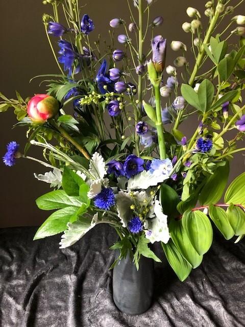 $100 Mother's Day Gift Arrangement in Handmade Swift Mallard Ceramic Vase