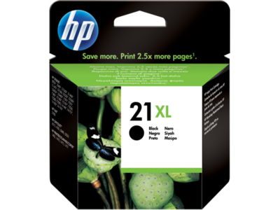 HP 21XL BLACK INKJET CARTRIDGE; up to 475 pages @ 5%