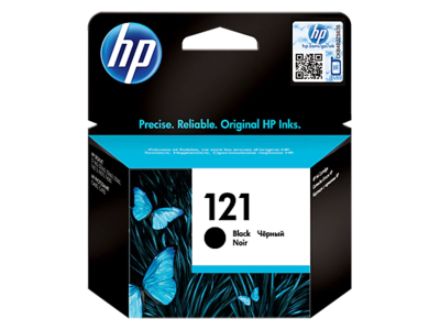 HP 121 Black Ink Cartridge with Vivera Ink; upto 200 pgs @5%