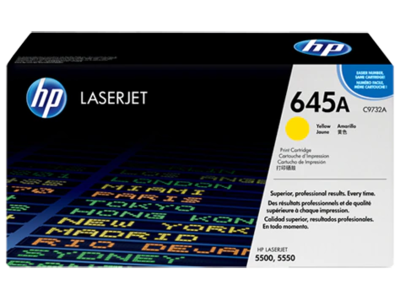 HP CLJ 5500 YELLOW PRINT CARTRIDGE HP COLOR LASERJET ALL-IN-ONE SMART PRINT CARTRIDGE CONTAINS TONER  DEVELOPER AND IMAGING DRUM.  APPROXIMATE CARTRIDGE YIELD 12 000 PAGES BASED ON 5% COVERAGE.