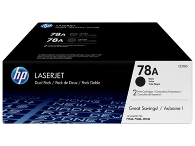 HP 78A BLACK DUAL PACK LASERJET TONER CARTRIDGE FOR M1536 SERIES ( 1100 PAGE YIELD EACH )
