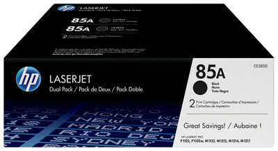 HP 85A BLACK DUAL PACK LASERJET TONER CARTRIDGE FOR M1210 SERIES ( 1600 PAGE YIELD EACH )