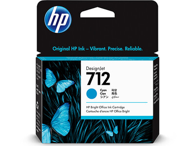 HP No. 712 29ml Cyan DesignJet Ink Cartridges for T200 and T600 Series (3ED67A)