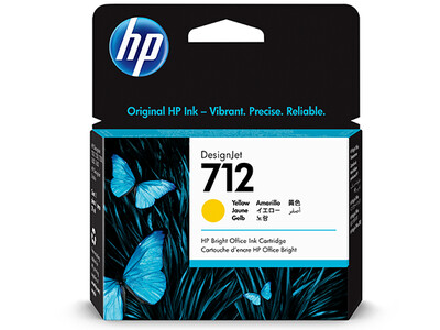 HP No. 712 29ml Yellow DesignJet Ink Cartridges for T200 and T600 Series (3ED69A)